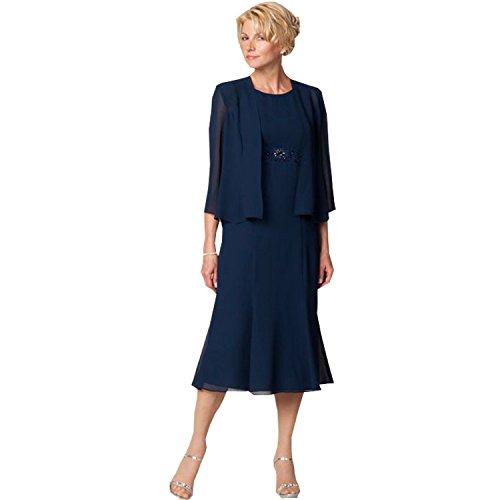 Kelaixiang Navy Blue Sleeveless Mother of The Bride Dresses Tea Length Coat