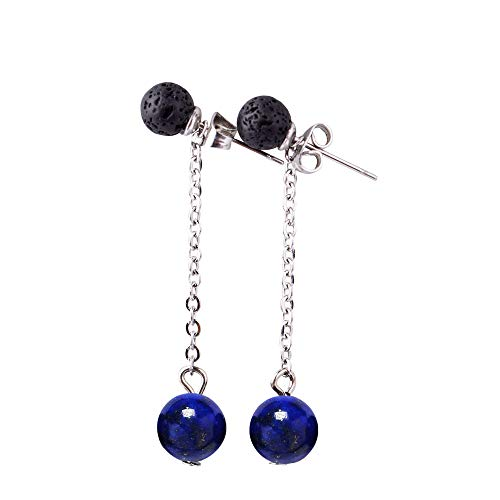 Lava Rock Essential Oil Diffuser Dangle Earrings Stainless Ear Wires (Lapis Lazuli)