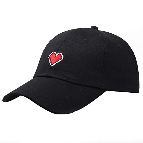 (Baseball Golf Cap,Fulijie Women Girl Unique Glamorous Simple Sweet Cap Embroidered Love Heart Female Shade Visor Sun Hat Black)