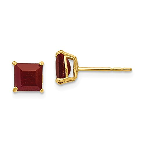 5mm Heart Created Earring Ruby (ICE CARATS 14kt Yellow Gold Red Ruby 5mm Square Post Stud Earrings Fine Jewelry Ideal Gifts For Women Gift Set From Heart)
