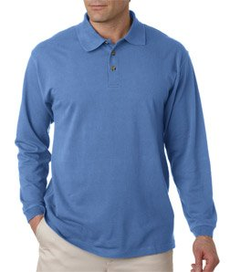 Sleeve Pique Sport Shirt (UltraClub mens Long-Sleeve Classic Pique Polo(8532)-Cornflower-L)