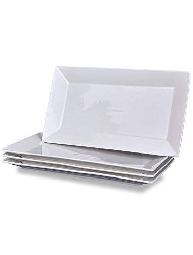 Klikel 4 Serving Platters | Classic White Plate | Serving Trays for Parties | Microwave and Dishwasher Safe - 6.5 X 14