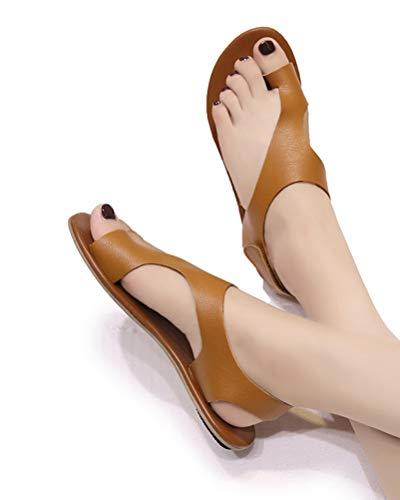 Caqui Elegante Sandalias Playa Clip Punta Verano Zapatos Primavera Toe Romanas Retro Abierta Mujeres Planos Tomwell Moda De Casual 1xTwzgAn5q