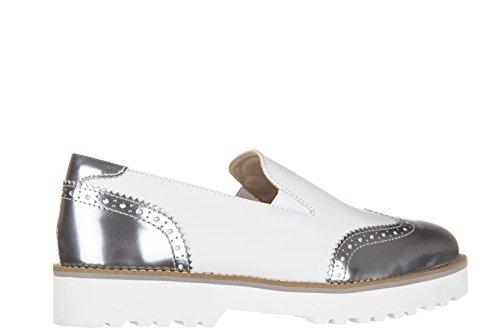 Hogan Damen Leder Scivolare Su Scarpe Da Ginnastica Pantofola H259 Percorso Pantofola Weiss