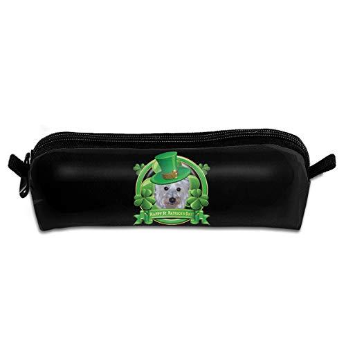 EWFBVa Durable Zipper Stationery Bag Happy St Patricks Day Westie Big Capacity Pencil Case