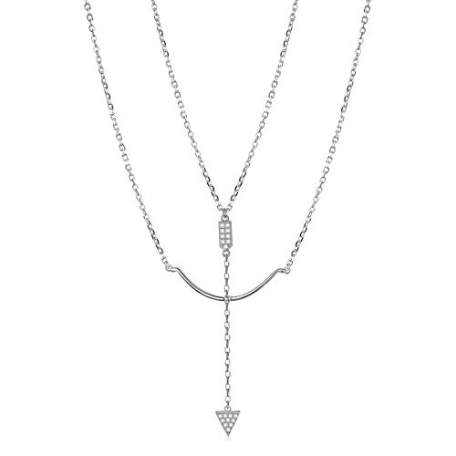(Sterling Silver Jewelry Layered Bow and Arrow Necklace Pendant Handmade Dainty Choker for Women Girls (Bow and Arrow))