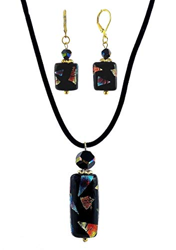 Black Multi Color Dichroic Glass Necklace Pendant & Earring Set