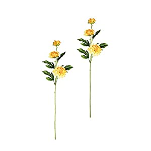 "Sullivans Set of 2 Artificial Yellow Dahlia Flower Stems, 21"" 26"