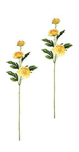 Sullivans Set of 2 Artificial Yellow Dahlia Flower Stems, 21""