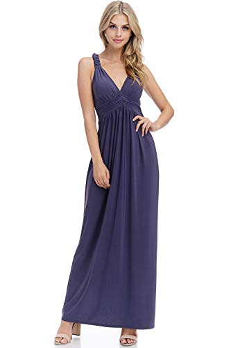 Solid Racer Back Maxi Dress with Bra Cups (Grey-1XL) (Plus Size Maxi Dress With Built In Bra)