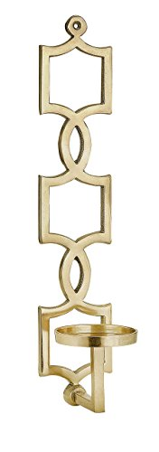 IMAX 60302 Sadie Gold Wall Sconce - Aluminum Wall Mounted Candle Pillar with Jewelry Pattern, Gold Finish. Decorative Candle Holders ()