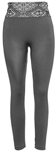Crush Women's Seamless Leggings Printed Pattern Waist Full Length S / M – Grey