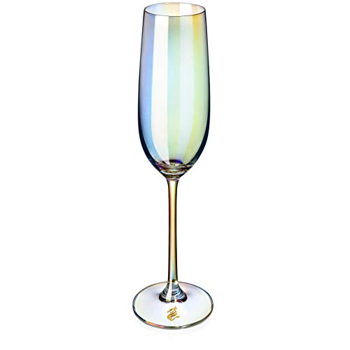Dragon Glassware Crystal Champagne Flutes, Stemmed Iridescent Lead-Free Rainbow Glasses For Wedding, Holidays…
