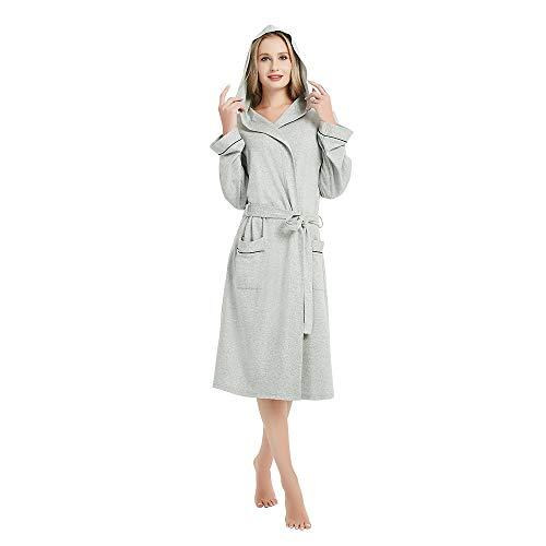 - M&M Mymoon Womens Hooded Cotton Robe Soft Kimono Spa Knit Bathrobe Lightweight Long (Grey Mel, L)