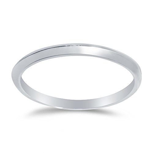 Size - 8 - Solid 14k White Gold 2mm Plain Classic Traditional Knife Edge Anniversary Ring Wedding Band