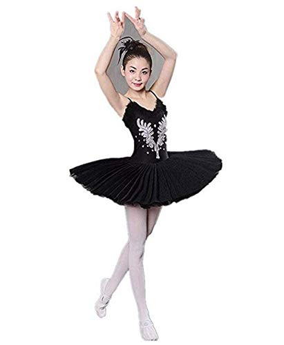 WENDYWU Women Professional Swan Ballet Tutu Hard Organdy Platter Performance Leotard Skirt (Black, XL) (Flowers Organdy)