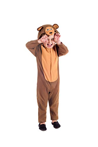 Toddlers Bear Grizzly Teddy Kids Unisex Cute Brown Hooded All in One - 3-4 Years]()