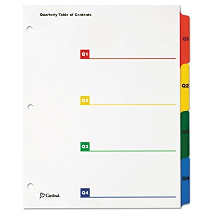 Multicolor 11 x 8 1//2 Quarterly Cardinal OneStep Printable Table of Contents//Dividers