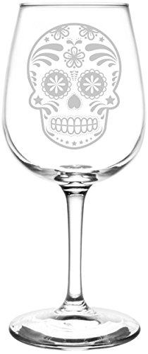 (Flower) Mexican Sugar Skull Day of The Dead Calavera Inspired - Laser Engraved 12.75oz Libbey All-Purpose Wine Taster Glass -