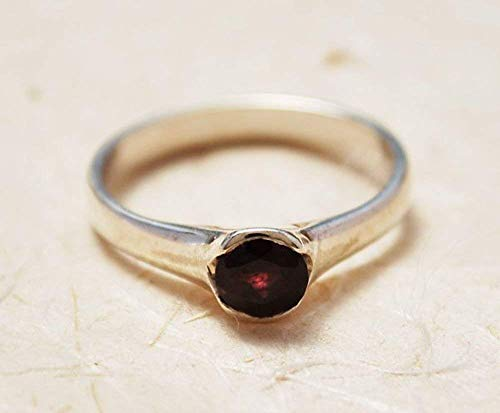 Handmade Elegant Delicate Thin Sterling Silver and Red Garnet January Birthstone Personalized Engagement Promise Ring For Her