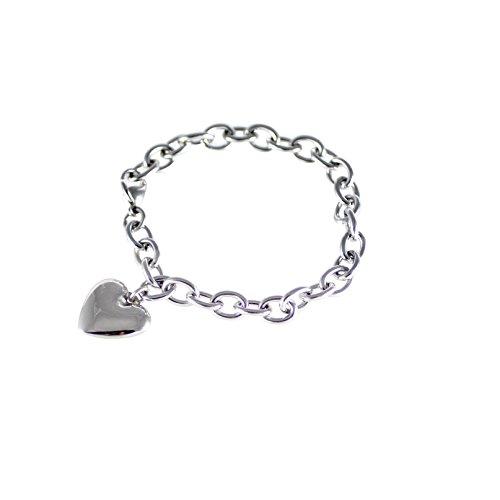 Women's Stainless Steel Polished Heart Charm Bracelet - 7.5