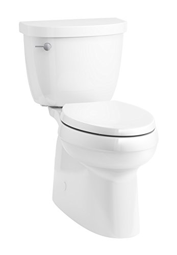 One Toilet Floor Standing Piece - KOHLER 5310-0 Cimarron Skirted trapway Comfort Height Two-Piece Elongated Toilet, Left-Hand Trip Lever, 29 x 17.6 x 30.5, White