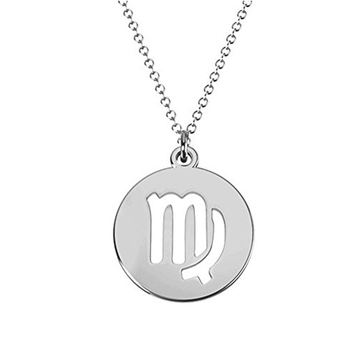 - Ouslier 925 Sterling 12 Silver Zodiac Sign Tag Cut Out Disc Necklace 0.6
