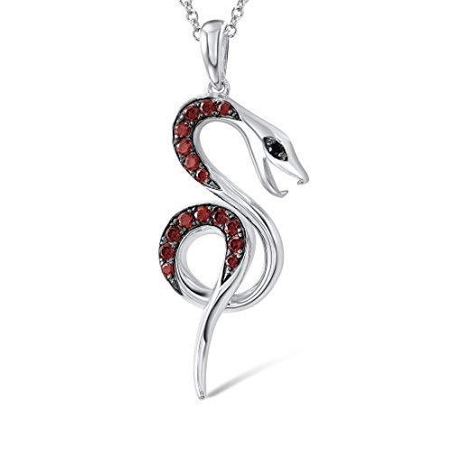 g Silver Snake Pendant in Garnet Black Spinel CZ Stones ()