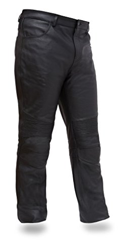 First Mfg Co Men's Smarty Leather Motorcycle Pants (Black, 32) ()
