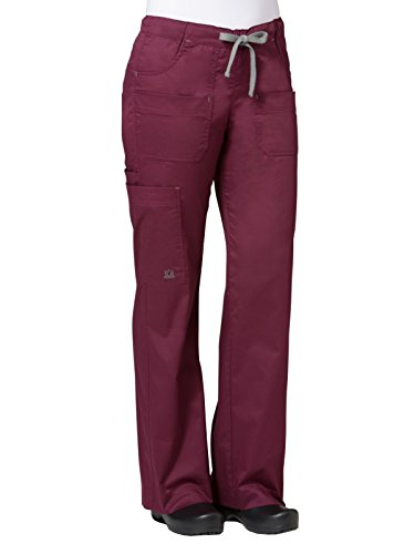 Elastic Waist Two Pocket - Maevn Women's Utility Cargo Pants(Wine, XX-Large Tall)