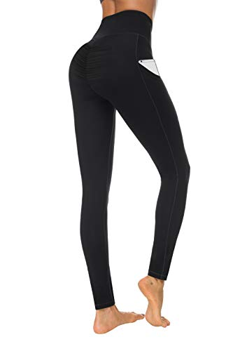 Fengbay Scrunch Butt Leggings with Pockets, High Waist Yoga Pants Booty Ruched Tummy Control Stretch Yoga Leggings Black