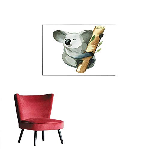 (Mural Decoration Watercolor Illustration Isolated on White Background Gray Koala is Holding The Bamboo Branch Mural 24