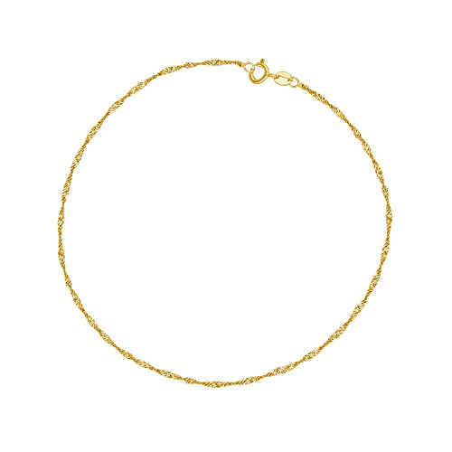 10k Yellow Gold Singapore Rope Ankle Anklet 10 - Singapore Shipping Usps