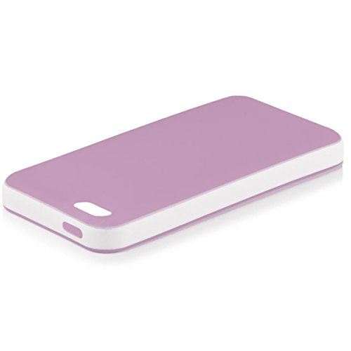 iCues Case Compatible with Apple iPhone 4/4S Bicolor TPU Purple [Screen Protector] Rubber Hybrid Cover TPU Silicone Heavy Duty Hard Shell Shookproof Protection Tough Protective Lifeproof