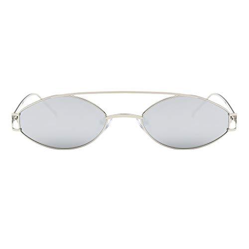 UV para Solar 400 Metal Protección Lentes Homyl Sol de Gafas Hombre plata Unisex Mujer Marco Regalo Elípticas qqRSvw