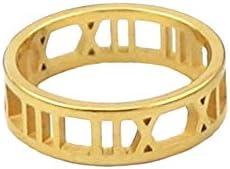 女性のための金色のステンレス鋼5mmの幅のローマ数字リング (イエローゴールド色, 6)