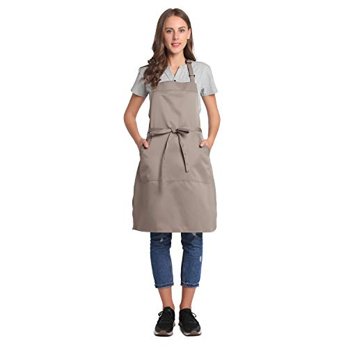 BIGHAS Adjustable Bib Apron with Pocket Extra Long Ties for Women, Men, Chef, Kitchen, Home, Restaurant, Cafe, Cooking, Baking, Gardening etc 13 Colors ()