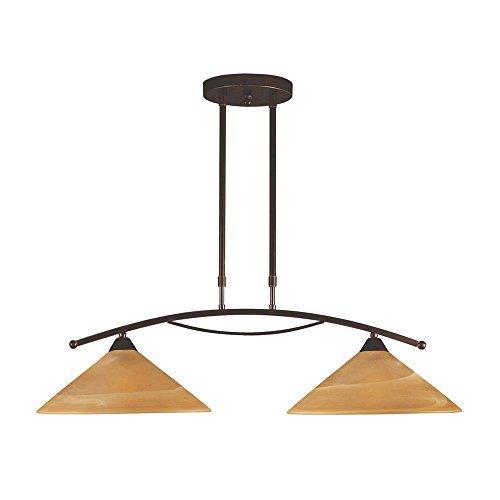 Titan Lighting Elysburg 2-Light Aged Bronze Island Light With Tea Swirl Glass Shades (Elysburg 2 Light)