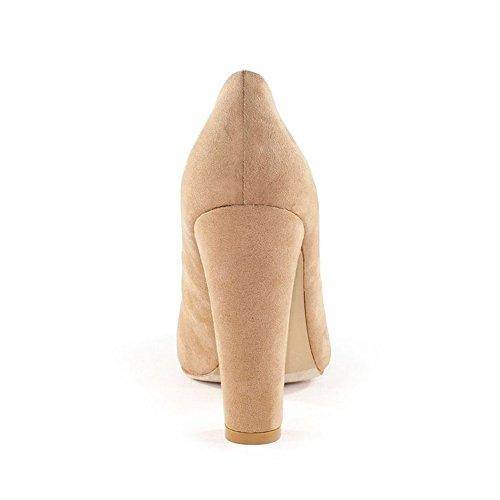 Ffc Nueva York Valentina Microsuede Chunky Heel Pump Camel