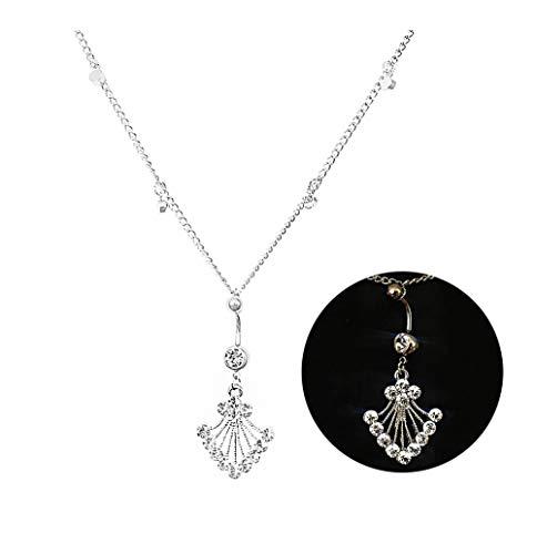 Eyraevor Women Sexy Rhinestone Piercing Bar Body Jewelry Boho Waist Chain Belt Belly Button Ring