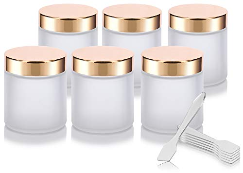 Frosted Clear Thick Glass Straight Sided Jar with Gold Metal Overshell Lid - 4 oz / 120 ml (6 pack) + Spatulas