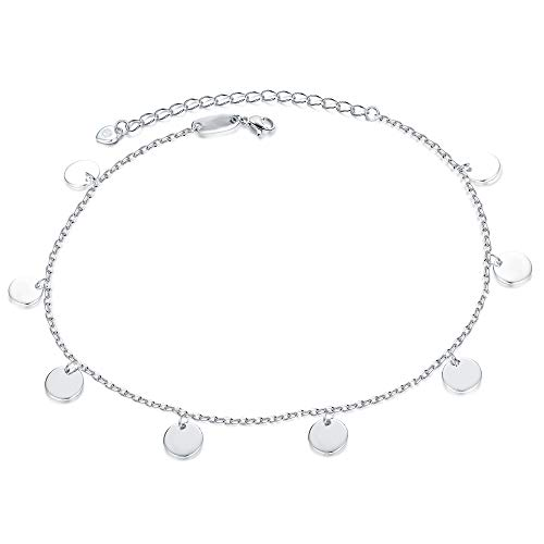 Sllaiss 925 Sterling Silver Anklet for Women Girl Adjustable Ankle Bracelet Beach Foot Jewelry