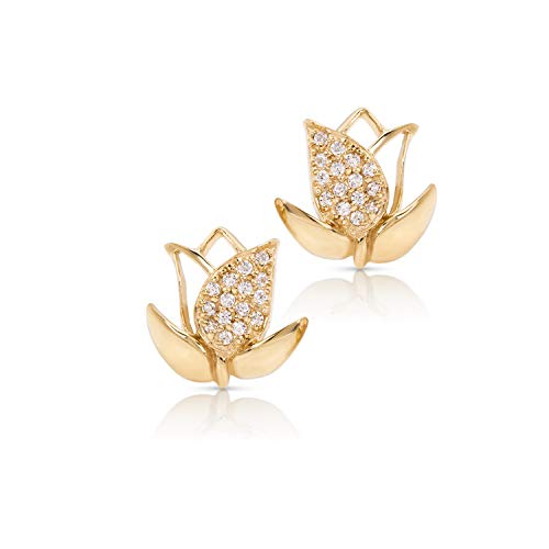 Perfect Love & Sunshine Yellow Gold-Plated Tulip Flower Earrings, Never Rust 925 Sterling Silver Hypoallergenic Studs for Women, Girls & Teens | Free Breathtaking Gift Box for Special Moments of Love