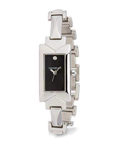 Silver Edifice Dress Watch - Youngblood Women's Charles DE Gaulle III Wrist Watch - Small Rectangle Japanese Movement Timepeace with Mineral Glass Dial and Stainless Steel Bracelet - Black Dial and Silver Band