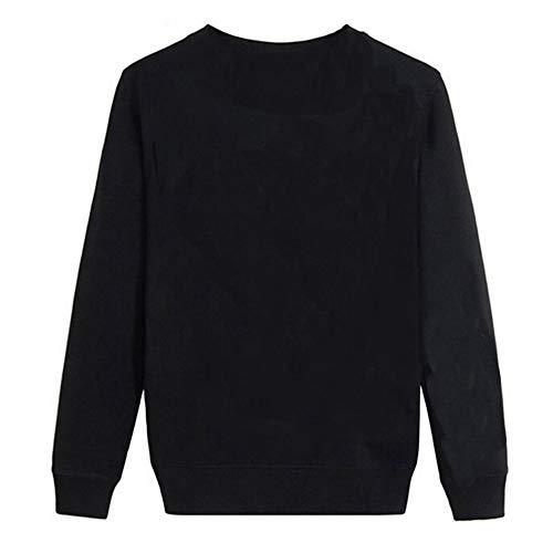 Noir Coeur Imprim Shirt AIMEE7 Blouse Top Longues Col Manches Femme Shirt Tee T Rond CXqOqwH4a