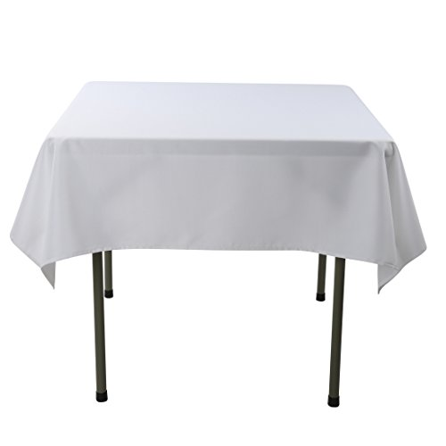 Waysle 52 x 52-Inch Square Tablecloth, 100% Polyester Washable Table Cloth for Square or Round Table, White ()