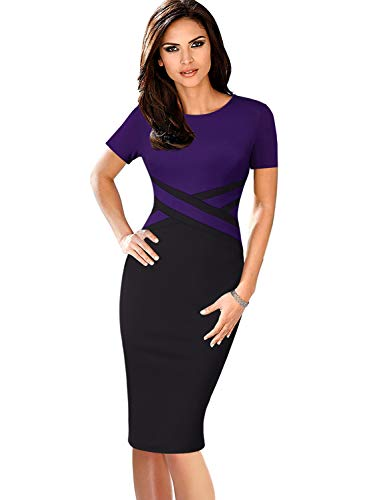 VFSHOW Womens Purple and Black Elegant Colorblock Work Business Office Church Sheath Dress 2759 PUP M