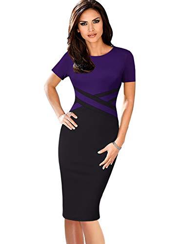 VFSHOW Womens Purple and Black Elegant Colorblock Work Business Office Church Sheath Dress 2759 PUP L