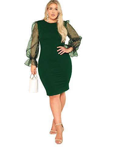 SHEIN Women's Plus Size Elegant Mesh Contrast Pearl Beading Sleeve Stretchy Bodycon Pencil Dress Green