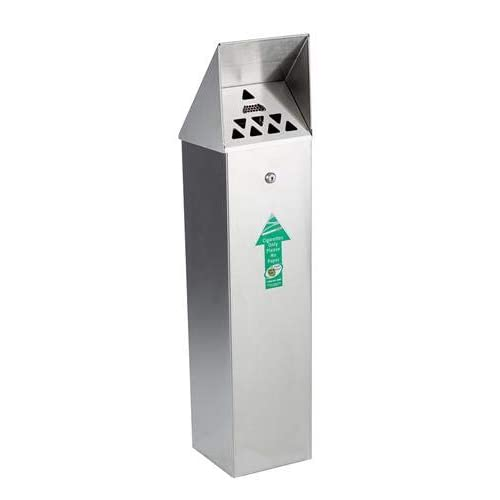 Image of Ashtrays No Butts Hooded Top Outdoor Tower Cigarette Bin Ashtray (Stainless Steel)